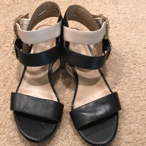 Black and Cream low heel sandals from Sole Society